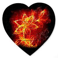 Магнитный пазл в форме сердца - Цвет пламени 190х190 мм