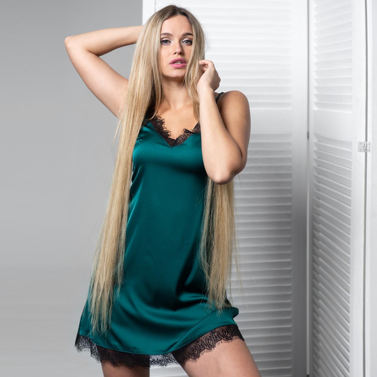 """Ночнушка женская """"Зеленая с черным кружевом"""" Шелк"""