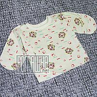 Тёплая распашонка р 62 1-3 месяц для малышей в роддом внешние швы с царапками начёсом ФУТЕР 3323 Зеленый