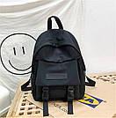 Рюкзак городской однотонный чёрный с водонепроницаемой пропиткой., фото 2