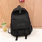 Рюкзак городской однотонный чёрный с водонепроницаемой пропиткой., фото 4