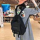 Рюкзак городской однотонный чёрный с водонепроницаемой пропиткой., фото 6
