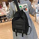 Рюкзак городской однотонный чёрный с водонепроницаемой пропиткой., фото 7