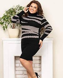 Теплий в'язаний светр «Тірамісу» чорний+капучіно
