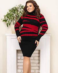 Теплий в'язаний светр «Тірамісу» чорний+червоний