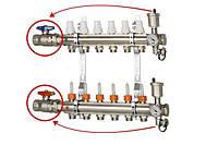 """Коллектор с расходомерами и запорными вентилями 1"""" х11  ICMA К 025 (Италия)"""
