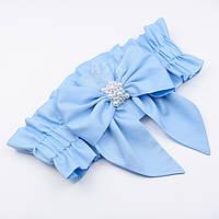 Резинка с бантом из сатина голубого цвета для конверта на выписку из роддома (с бусинами)