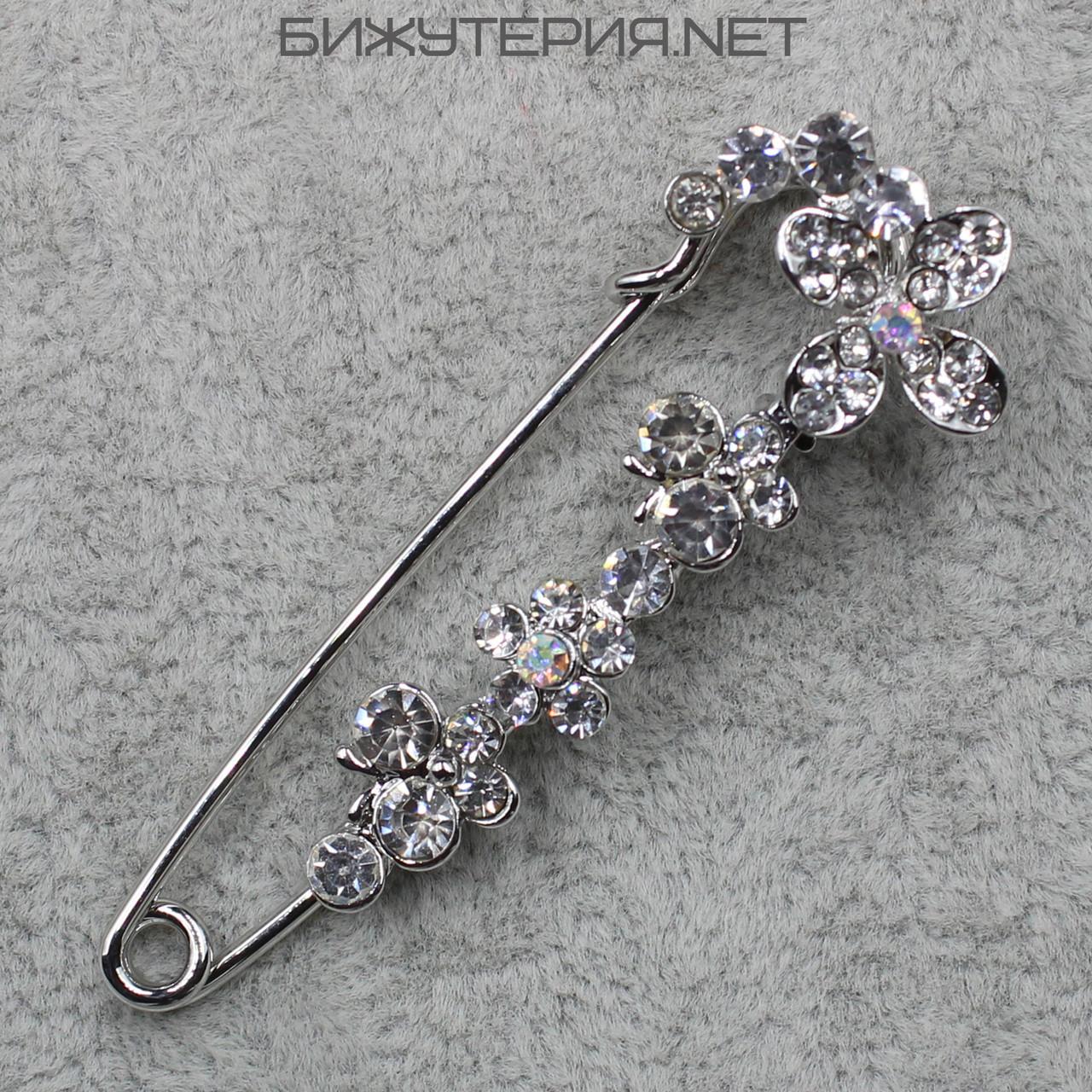 Брошь - булавка JB Цветочки, декорирована стразами белого цвета и кристаллами - 1058300578