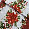 Скатертная ткань с рождественской звездой (пуансетией), ширина 50 см