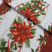 Скатертная ткань с рождественской звездой (пуансетией), ширина 50 см, фото 1