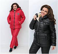 Р 50-56 Зимовий костюм на овчині, з подовженою курткою Батал 20687, фото 1