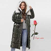 Женская зимняя удлиненная  куртка с капюшоном