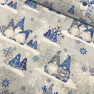 Ткань польская хлопковая, гномики серо-синие с серыми снежинками на сером