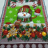 Готовое вафельное полотенце со снеговиком и ёлочными шарами, 47х60 см