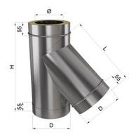 Тройник дымохода 45° нерж/оц 0,8 мм 120/180