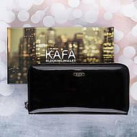 Кошелек женский кожаный лаковый Kafa с RFID защитой (BC74 black)