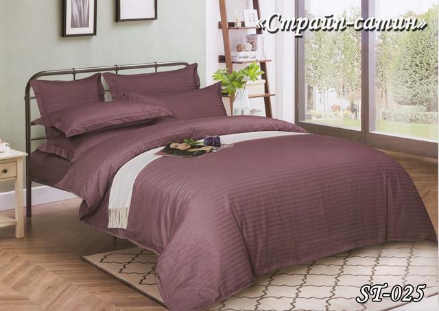 Комплект постельного белья Тет-А-Тет двуспальное Страйп сатин  марсаловій