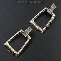 Серьги JB металлические, эмаль золотая декорированы стразами белого цвета - 1055153725