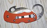 Нож керамбит  Spyderco оранжевый, маленький, фото 3