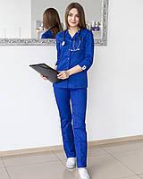 Женский костюм медицинский на кнопках цвет эллектрик
