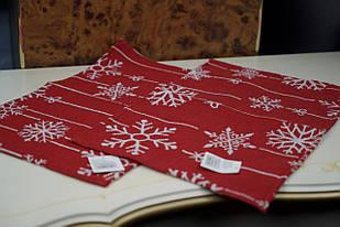 Набір новорічних червоних серветок з сніжинками 2шт