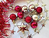 Набор новогодних мини украшений_КРАСНЫЙ и СЕРЕБРИСТЫЙ (шарики, мишура, гирлянда)