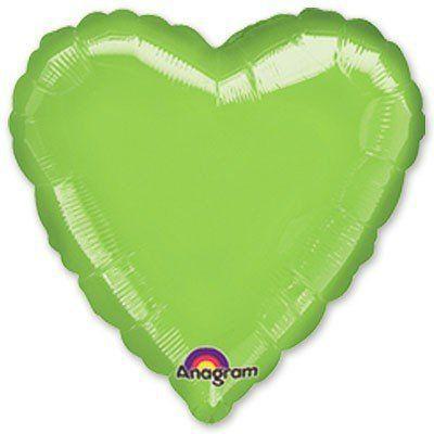 Фольговані кулі без малюнка серце 18/45 металік limegreen (США)