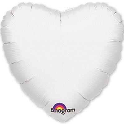 Фольговані кулі без малюнка серце 18/45 пастель white (США)