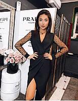 Платье с креп-костюмки черного цвета