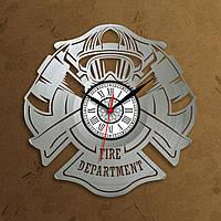 Часы Пожарник Серебряные часы Часы пожарную часть Часы для спасателей Кварцевый механизм Часы в кабинет 300 мм