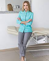 Медицинский женский костюм цвет мятный с серым