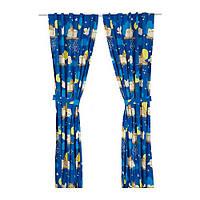 "IKEA ""ВАНДРИНГ УГГЛА"" Гардины с прихватом, 1 пара, темно-синий"