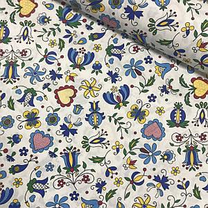 Хлопковая ткань польская разноцветные цветы на белом