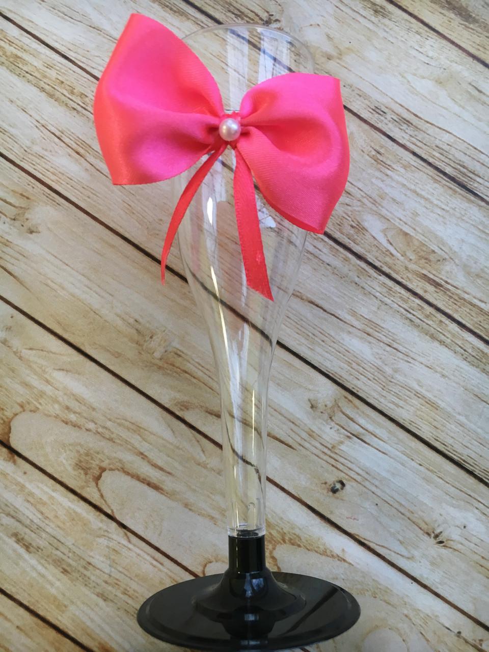 Бокал для шампанского пластик, Розовый
