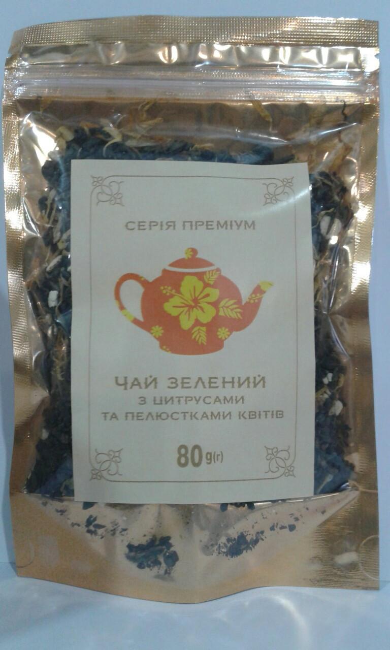 """Чай зеленый с цитрусами и лепестками цветов """"Premium"""" 80 г"""