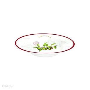 Тарілка піала велика глибока біла з малюнком з оливками