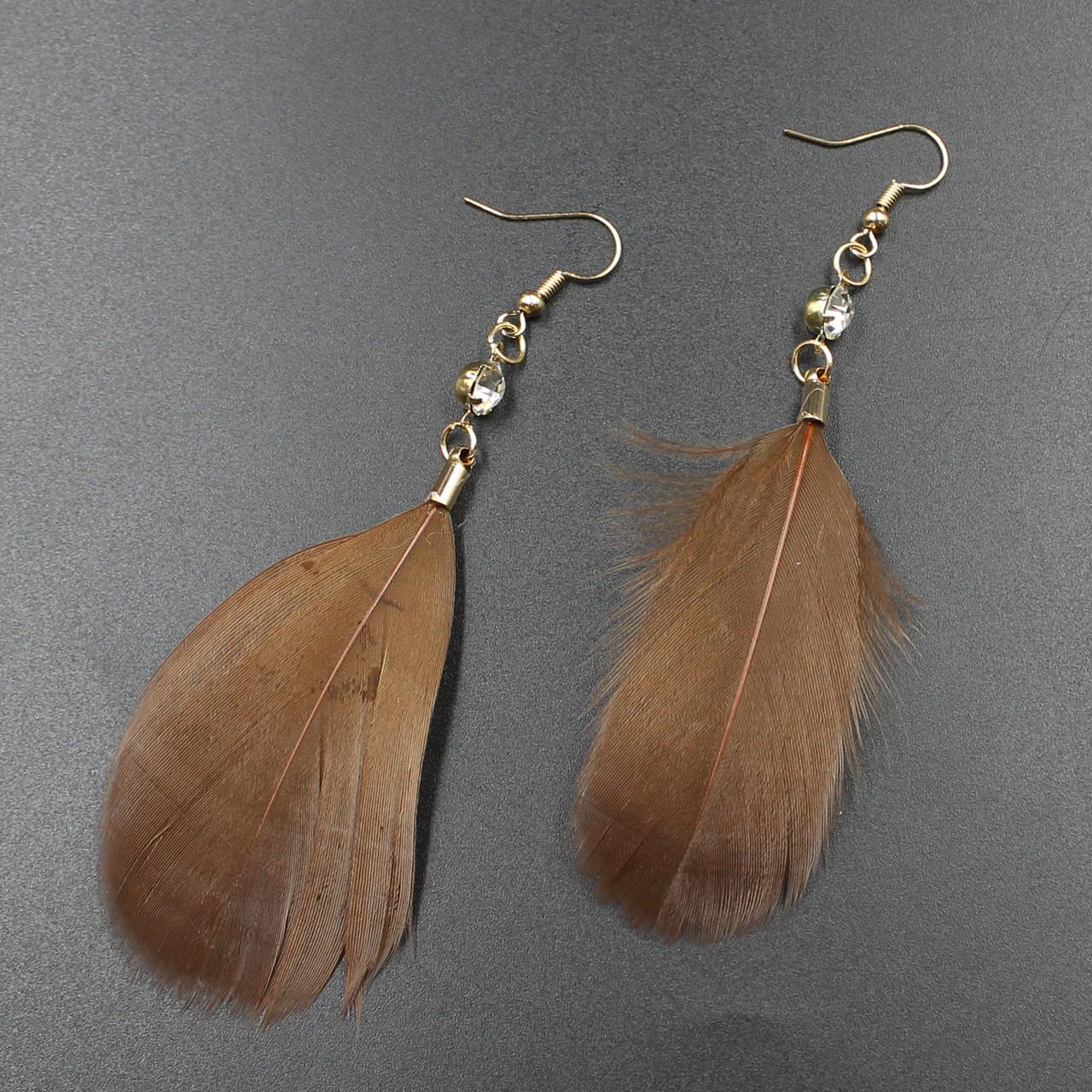 """Серьги перья  """"Stephanie Brown"""" L - 9,5 см"""