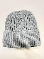 Стильная зимняя  женская  шапка крупной вязки с узором