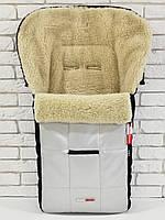 Зимний конверт на овчине в коляску Z&D New Эко кожа (Серебряный)