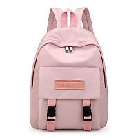 Рюкзак для девочки подростка однотонный розовый с водонепроницаемой пропиткой.