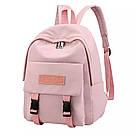 Рюкзак для девочки подростка однотонный розовый с водонепроницаемой пропиткой., фото 2
