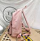 Рюкзак для девочки подростка однотонный розовый с водонепроницаемой пропиткой., фото 7