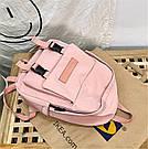 Рюкзак для девочки подростка однотонный розовый с водонепроницаемой пропиткой., фото 5