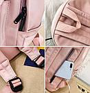 Рюкзак для девочки подростка однотонный розовый с водонепроницаемой пропиткой., фото 4