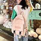 Рюкзак для девочки подростка однотонный розовый с водонепроницаемой пропиткой., фото 10