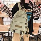 Рюкзак для  подростка однотонный хаки с водонепроницаемой пропиткой., фото 7