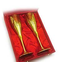Бокалы бронзовые позолоченные(н-р 2 шт/160мл)(h-20 см(24х18,5х7,5 см)