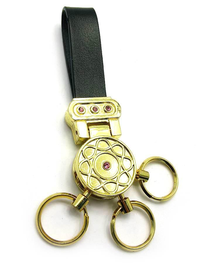 """Брелок для ключей с кожаным ремешком """"Стразы"""" 19387 B"""