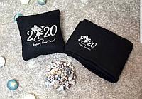 """Подушка и плед  """"Heppy New Year 2020!"""" флисовый набор символикой года!"""