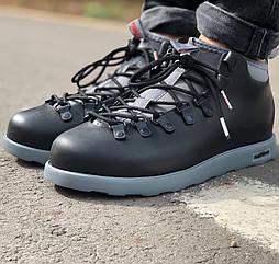 Зимние мужские ботинки Native Fitzsimmons black/grey черные с серым термо 41-45рр. Живое фото (Реплика ААА+)